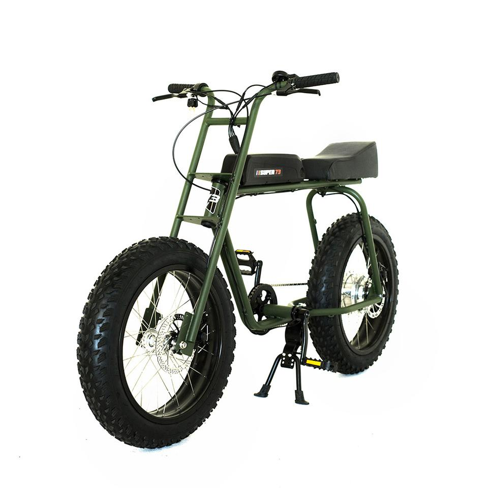 "The Super 73 Scout standard edition has a Li-ion ""fuel tank"" that's good for a range of 20 miles (more if the rider pedals), and a rear hub motor for a top speed of 18 mph in electric drive only"