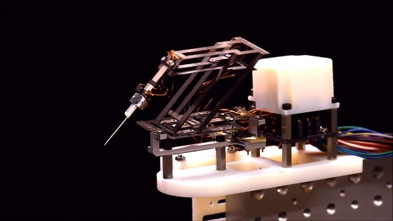 The small surgical robot developed at the Wyss Institute