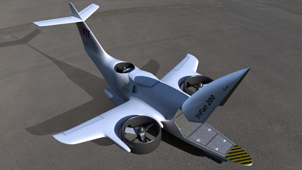 The Trifan 200: a transitioning hybrid diesel eVTOL with a pop-up cabin for cargo