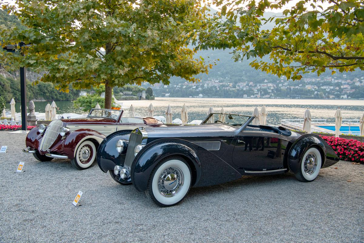 Two of the remarkable cars at this year's (2021) Concorso d'Eleganza Villa d'Este that look beautiful from any angle. At left is a 1939 Steyr 220 Cabriolet with coachwork by Gläser-Karosserie and at right is a 1938 Delage D8-120 S with coachwork by de Villars.