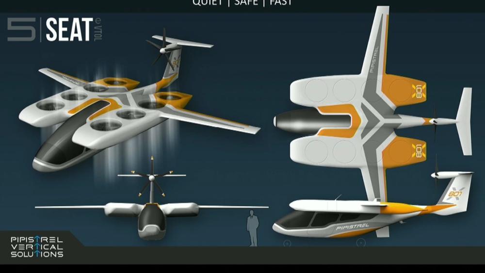 The Pipistrel 801 eVTOL air taxi, a fast and efficient design