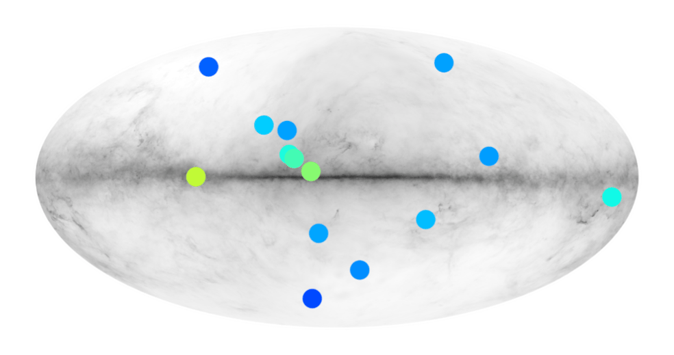 The positions of the anti-star candidate gamma ray signals, overlaid on the Milky Way