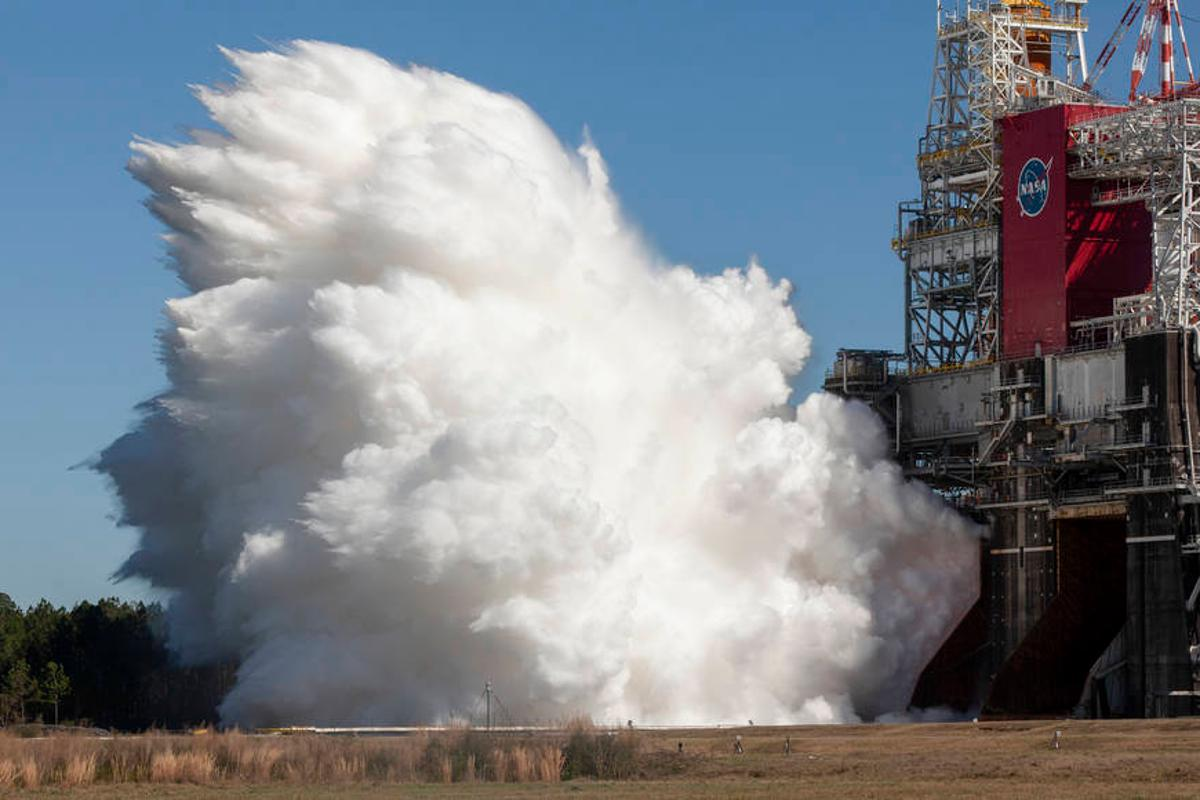 The core stage firing at NASA's Stennis Space Center