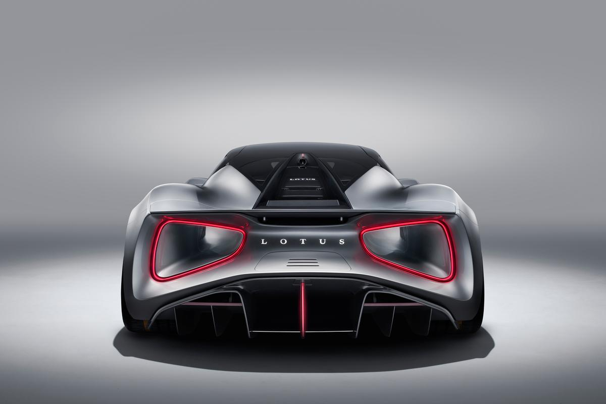 On  the Lotus Evija giant venturi tunnels exit at the rear, rimmed by the taillights