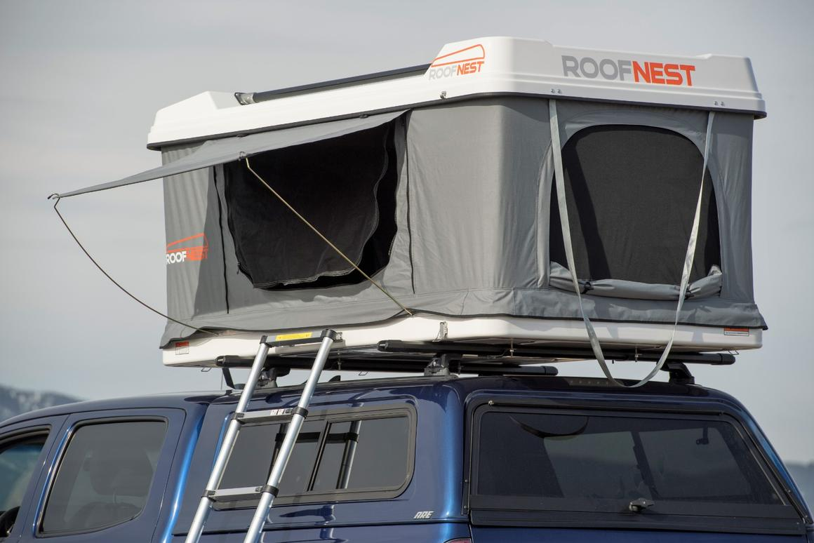 Roofnest Sandpiper roof-top tent carries bikes and shelter