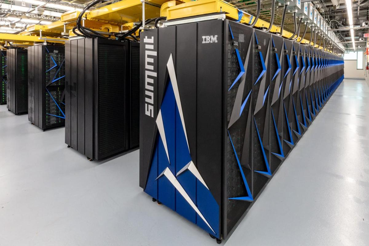 The Department of Energy's IBM supercomputer Summit holds the top spot, with a maximum recorded performance (Rmax) of 148,600.0 teraflops