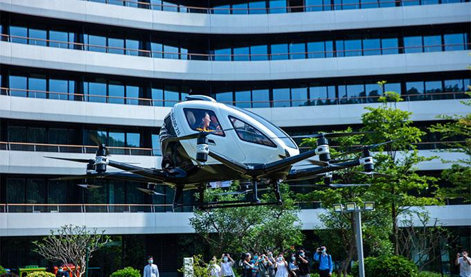 Media representatives attending an eHang signing ceremony on May 9, 2020, were offered air tours around the LN Garden Hotel