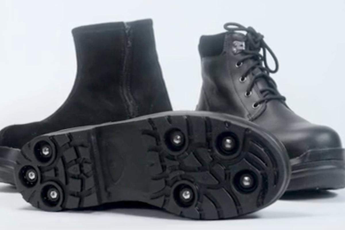 Gripforce boots can convert between regular winter boots and ice cleats at the flip of a switch