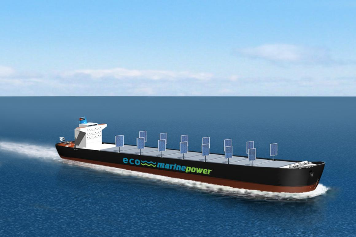 The Aquarius Eco Ship concept based on the EnergySail technology that uses solar panels embedded in rigid sails