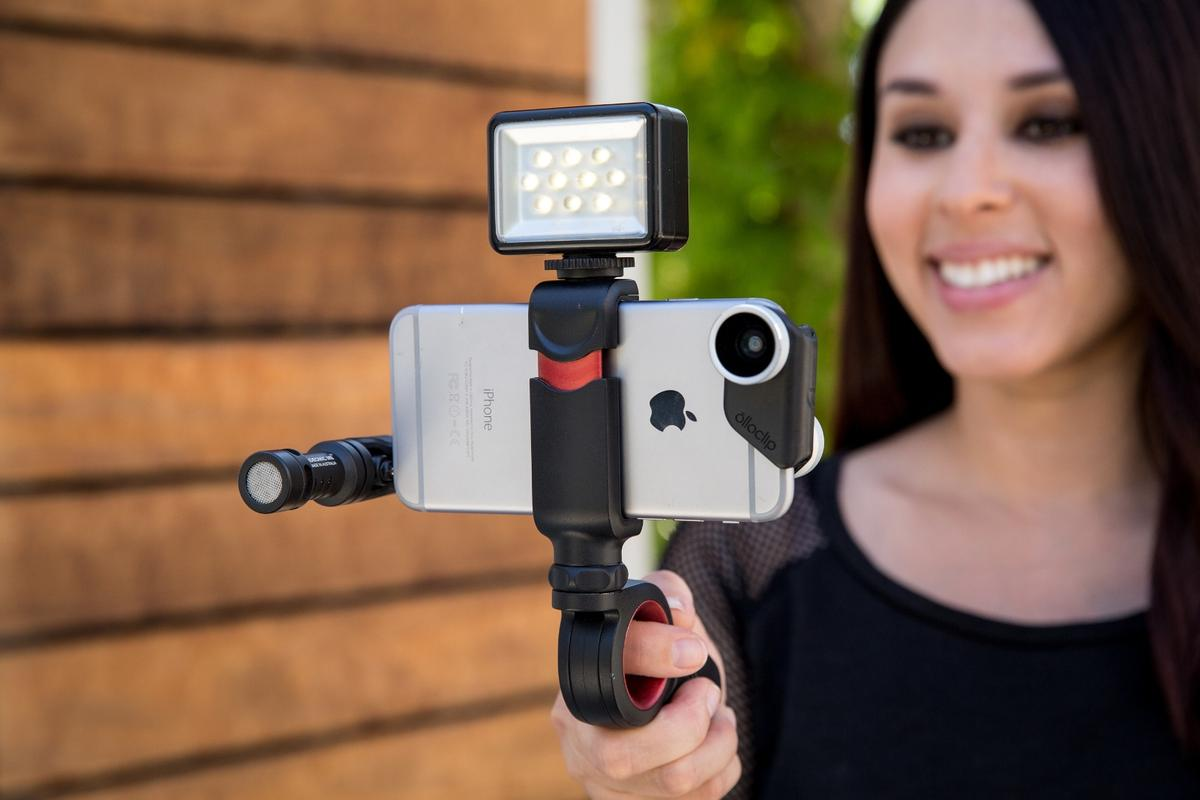 The Olloclip Pivot video grip features an articulating hub for shooting at otherwise awkward angles