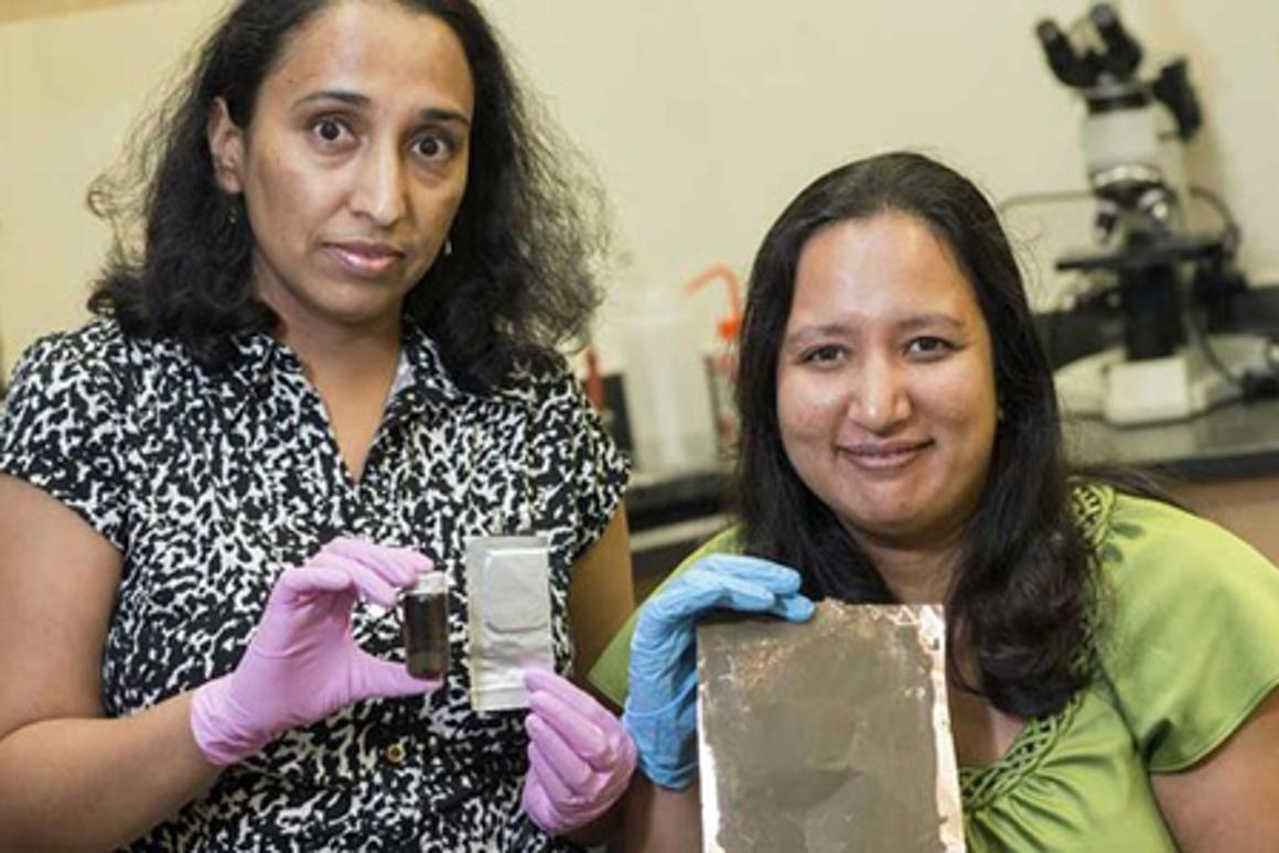 Rice University researchers Madhuri Thakur, left, and Sibani Lisa Biswal with their crushed silicon anode material (Photo: Jeff Fitlow)