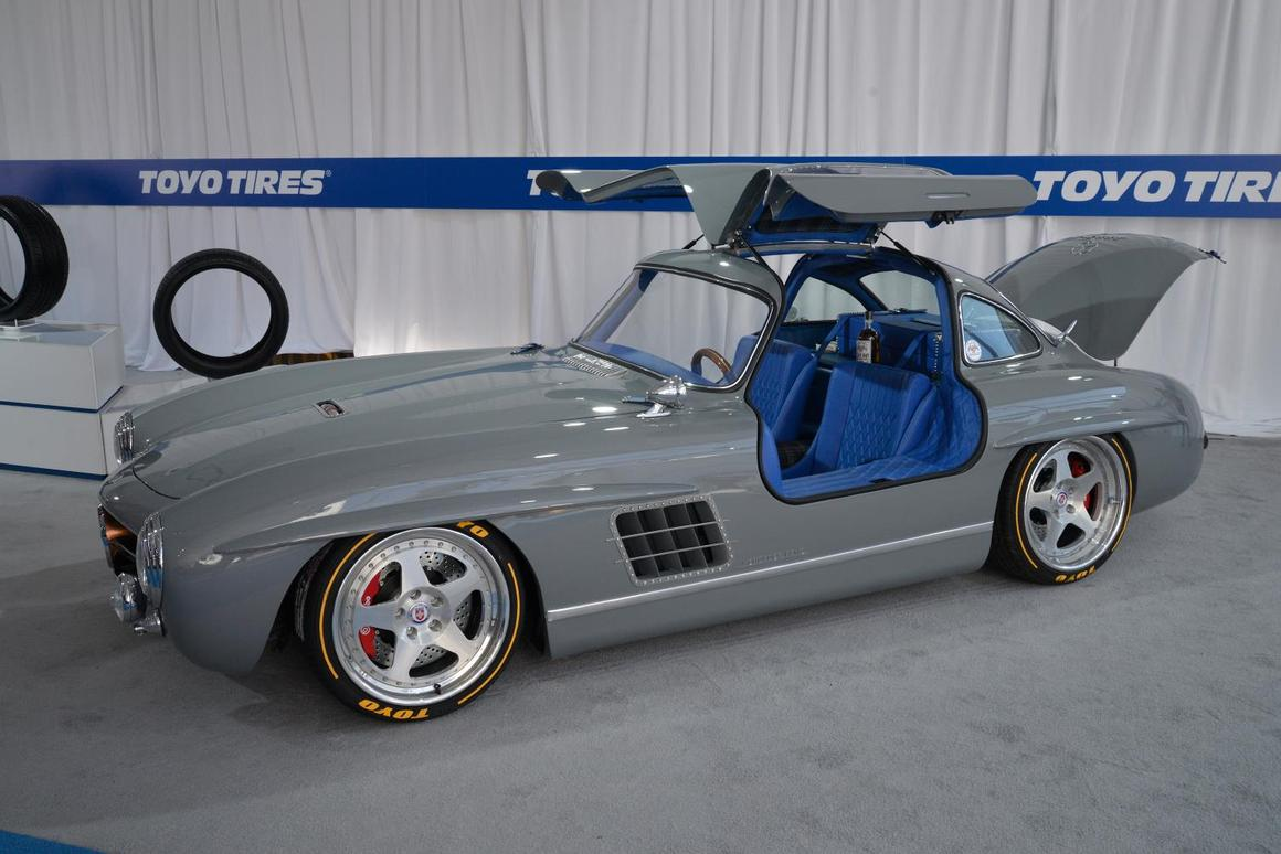 What looks like a simple classic Mercedes-Benz 300 SLis actually a 1955 gullwing body atop a modern SLK32 chassis