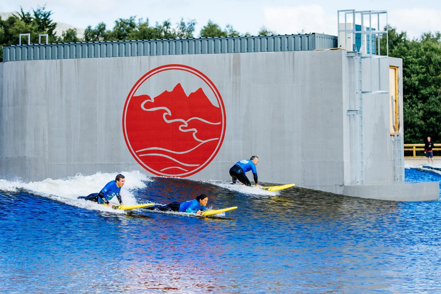 Up to 36 surfers can use the lagoon simultaneously, with waves produced at a rate of one per minute