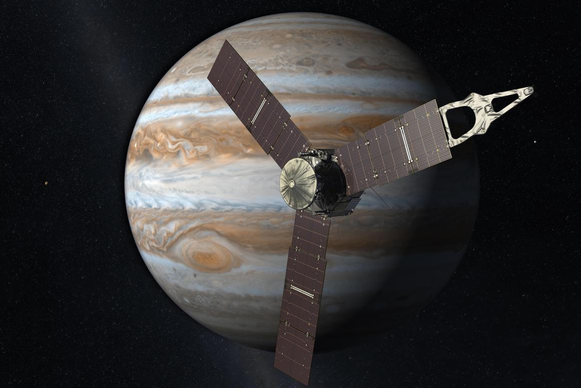 Artist's concept of Juno arriving at Jupiter (Image: NASA/JPL-Caltech)