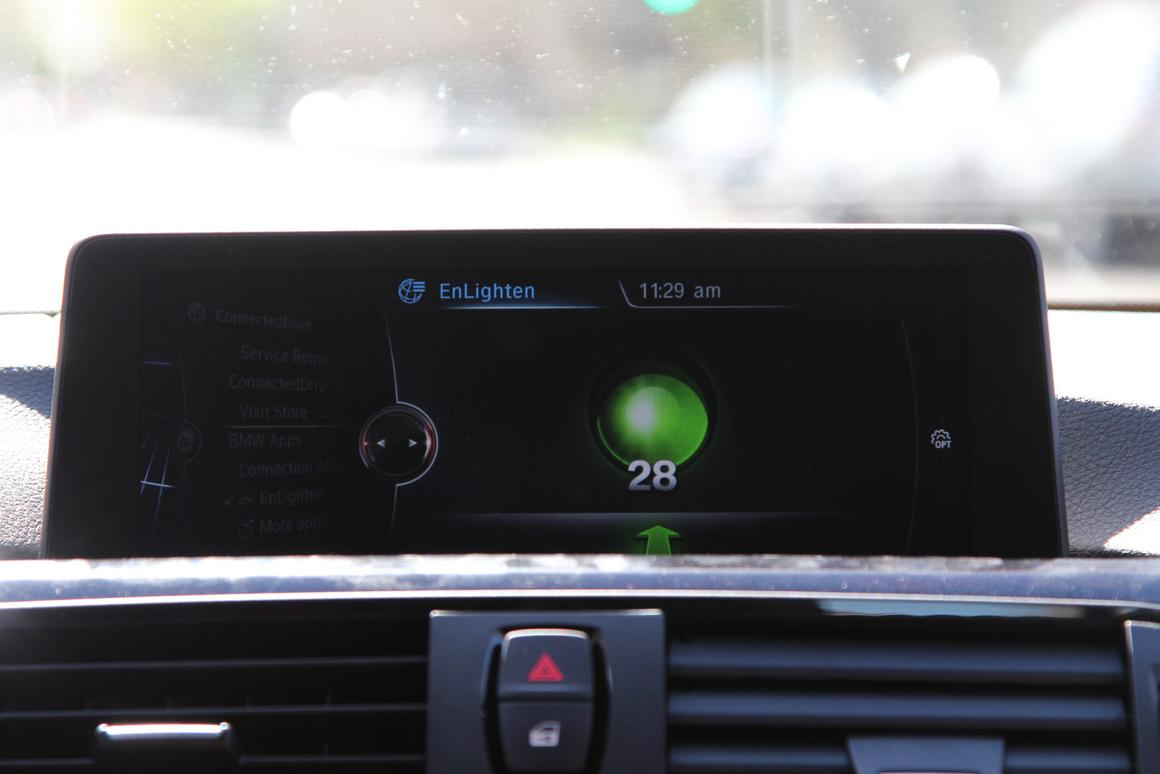 The EnLighten app allows BMW drivers – or anyone else – to know how long green or red lights will last