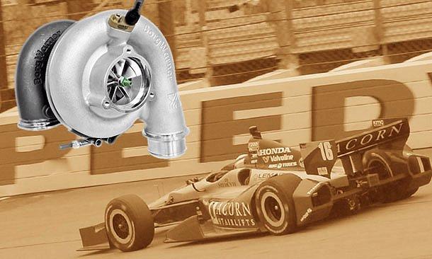 Borg-Warner turbocharger against an Indy race background (Photo: INDYCAR)