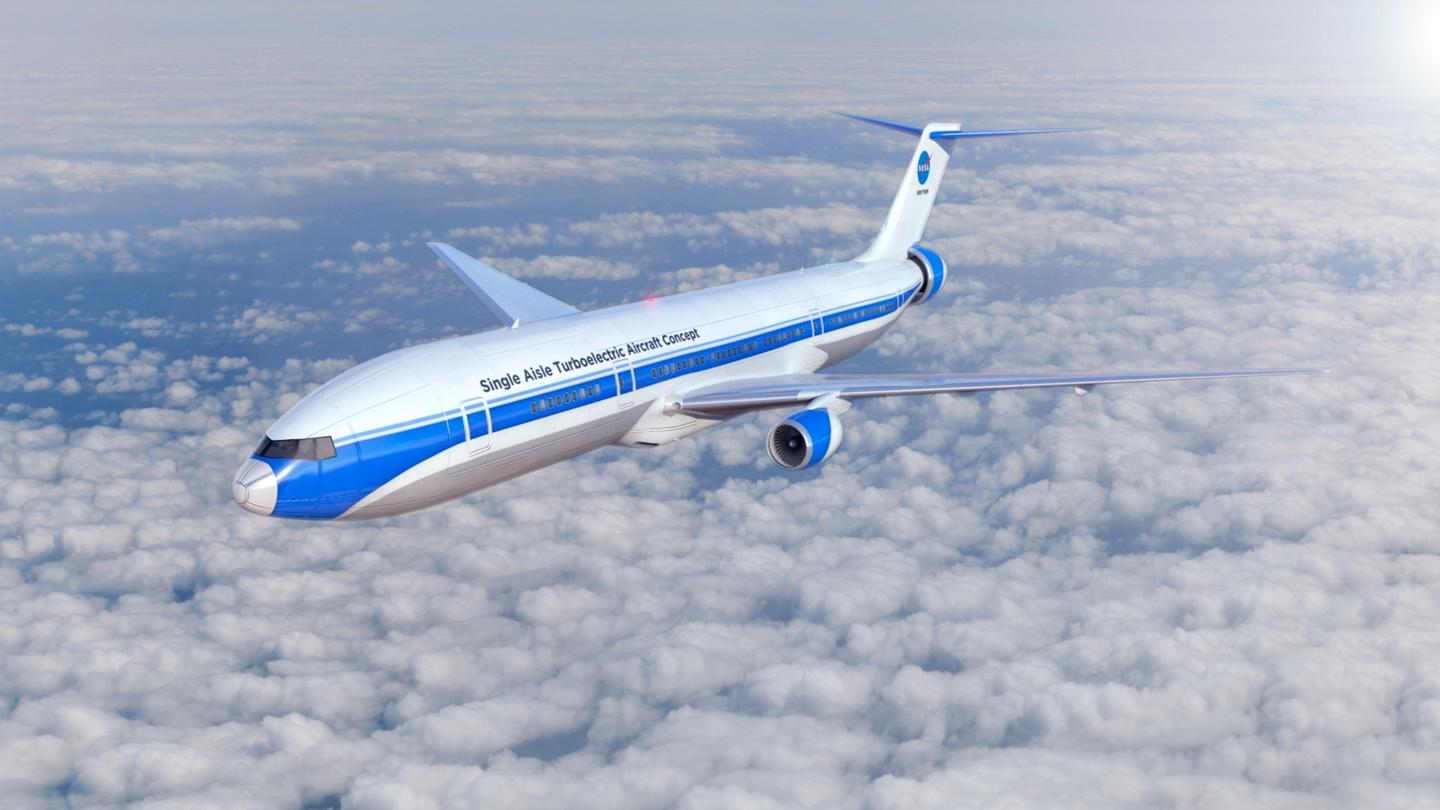 Artist's rendering of NASA's concept aircraft, STARC-ABL, which utilizes advanced propulsion technologies to decrease fuel usage, emissions and noise