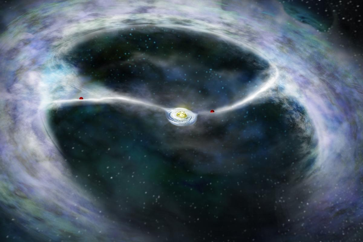 An artist's conception of the HD142527 system, with gas streamers being pulled towards the planets (Image: Bill Saxton, NRAO/AUI/NSF)