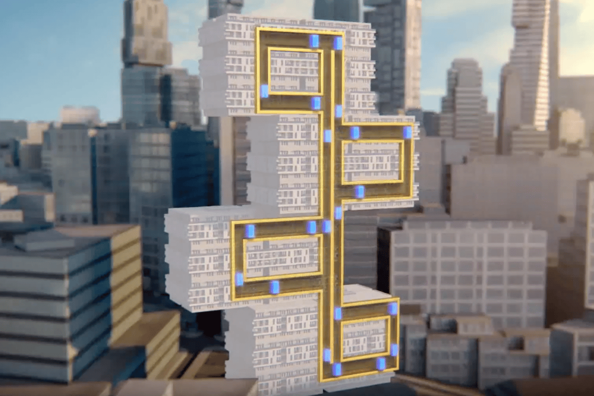 This cable-free, Willy Wonka-style concept, can move multiple cars vertically and horizontally in a single shaft using a magnet-based drive system similar to that of Maglev train technology.