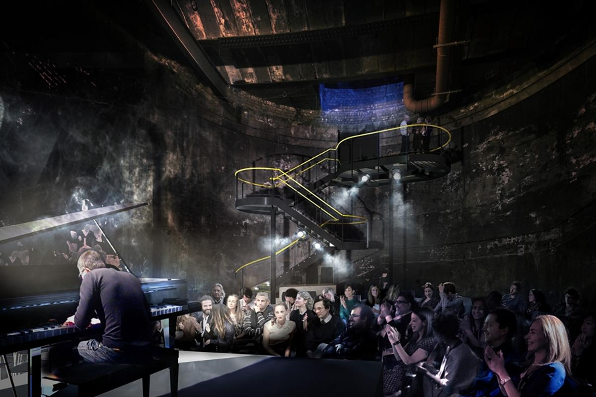 A freestanding cantilevered staircase will give visitors views of Brunel's Rotherhithe Shaft when it is reopened as a performance space (Image: Tate Harmer)