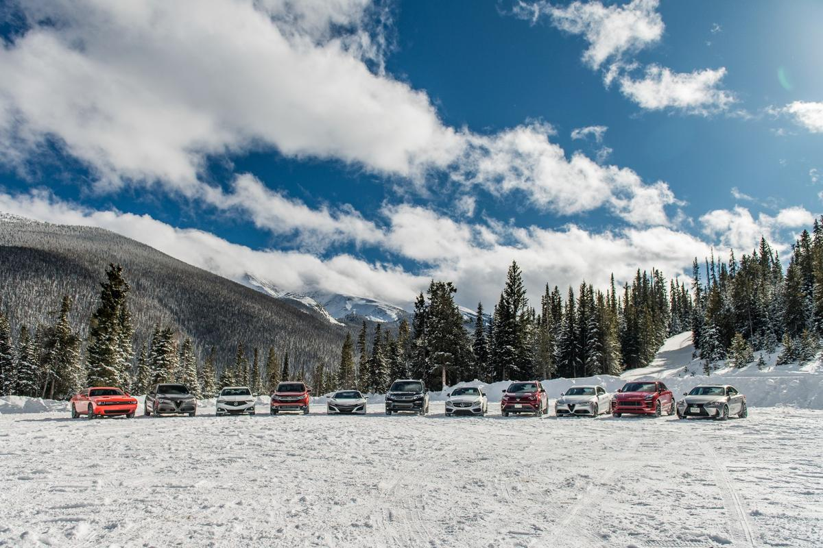 The lineup of vehicles at the 2018 Rocky Mountain Redline Ice Driving Adventure in Colorado