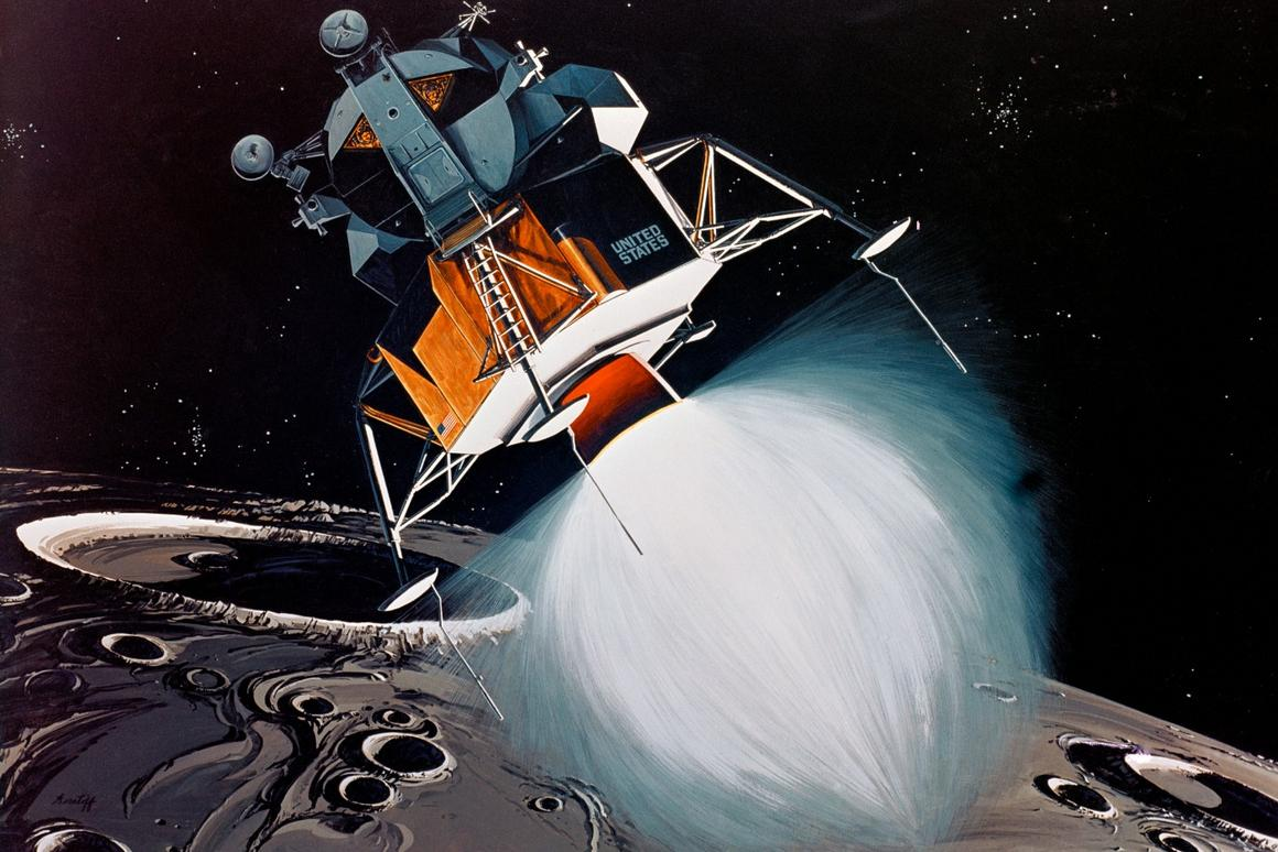 Artist's concept of a Lunar Module coming in for landing