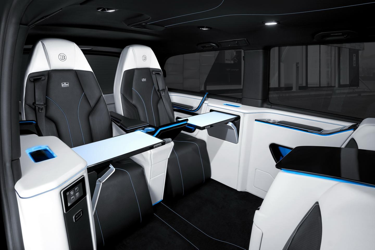 The new Brabus Business Lounge includes comfortable VIP seating, inductive phone charging and folding tables
