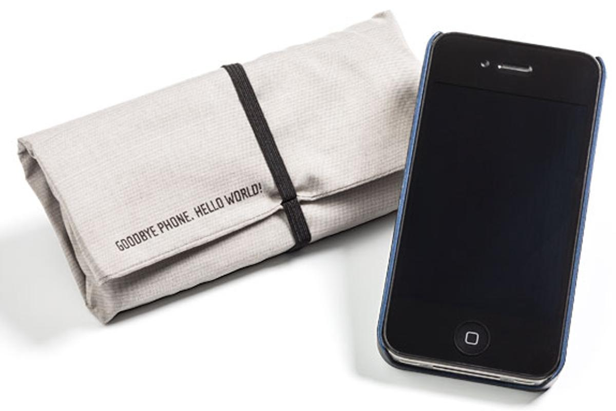 ThinkGeek is now selling a the Blokket, a small pouch that can hold mobile devices or RFID-chipped IDs and block them from receiving any incoming wireless signals