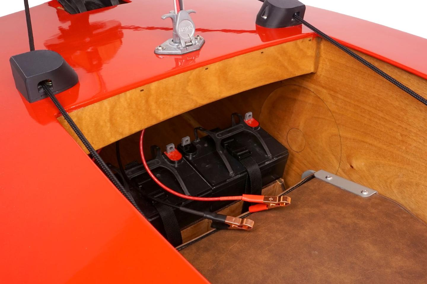 The Mini Boat can take two SLA deep cycle batteries, which are strapped in behind the seat