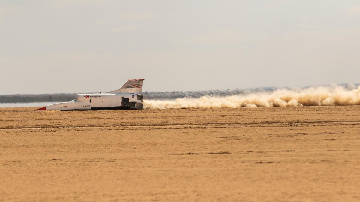 The Bloodhound LSR car in action