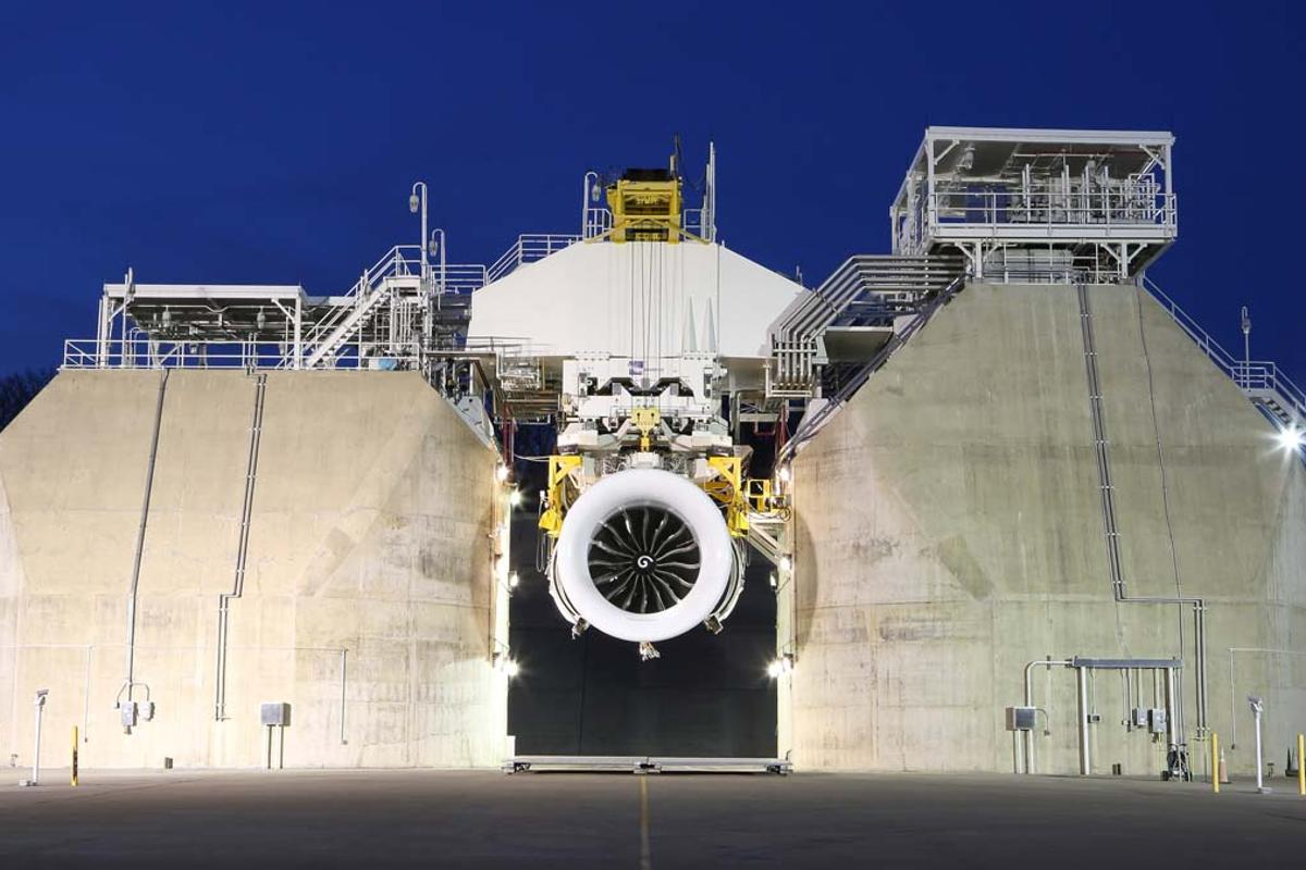Ground testing is underway on the first full GE9X development engine