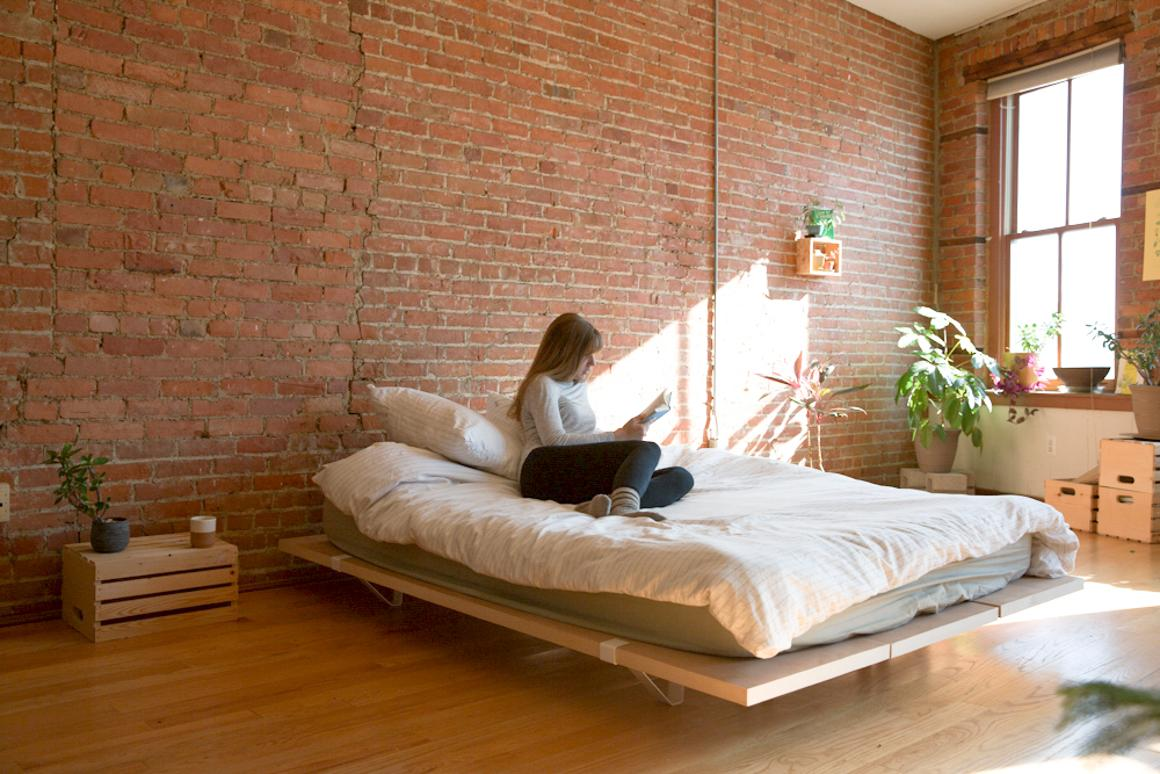 The Floyd Bed Frame consists of only three parts