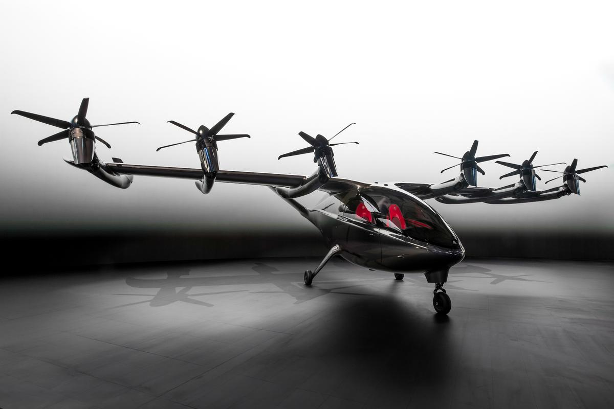 The Maker uses 12 electric props, the front six of which are capable of tilting forward for efficient winged flight