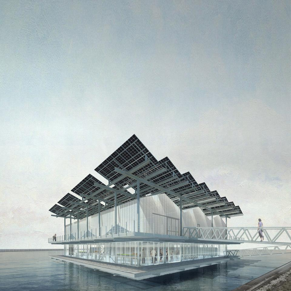 Floating Farm Poultry is envisioned for a harbor in Rotterdam, the Netherlands