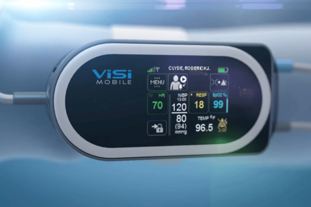 ViSi Mobile unit with blood pressure readout