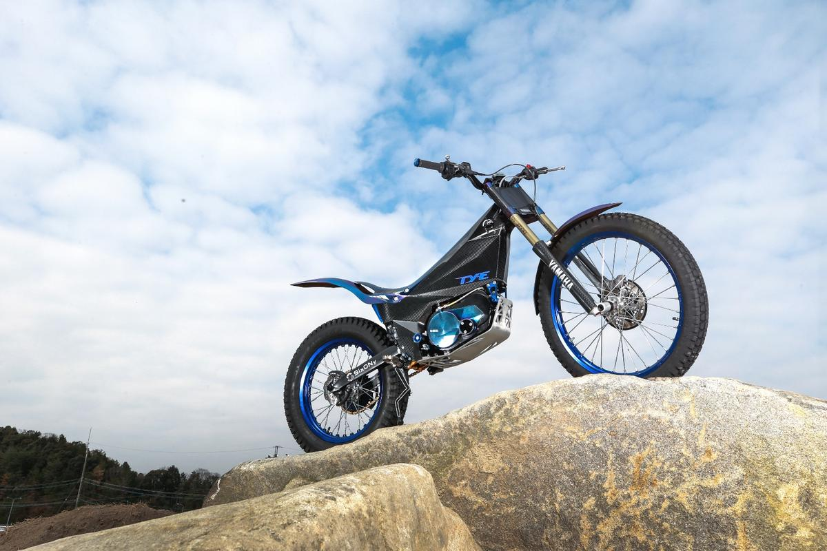 The Yamaha TY-E is a sub-70 kg electric motorcycle with a clutch for trials competition riding