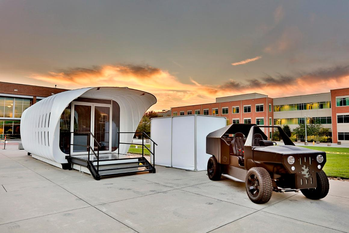 Dubbed AMIE (Additive Manufacturing Integrated Energy), the innovative platform features special technology that allows a bi-directional flow of energy between a dwelling and a vehicle