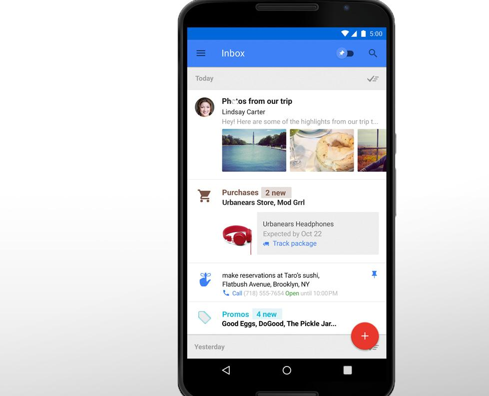 Inbox running on a Nexus 6