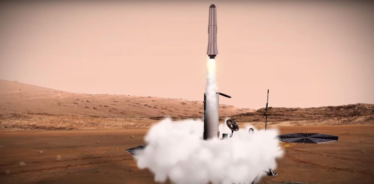 The sample return rocket lifting off from Mars