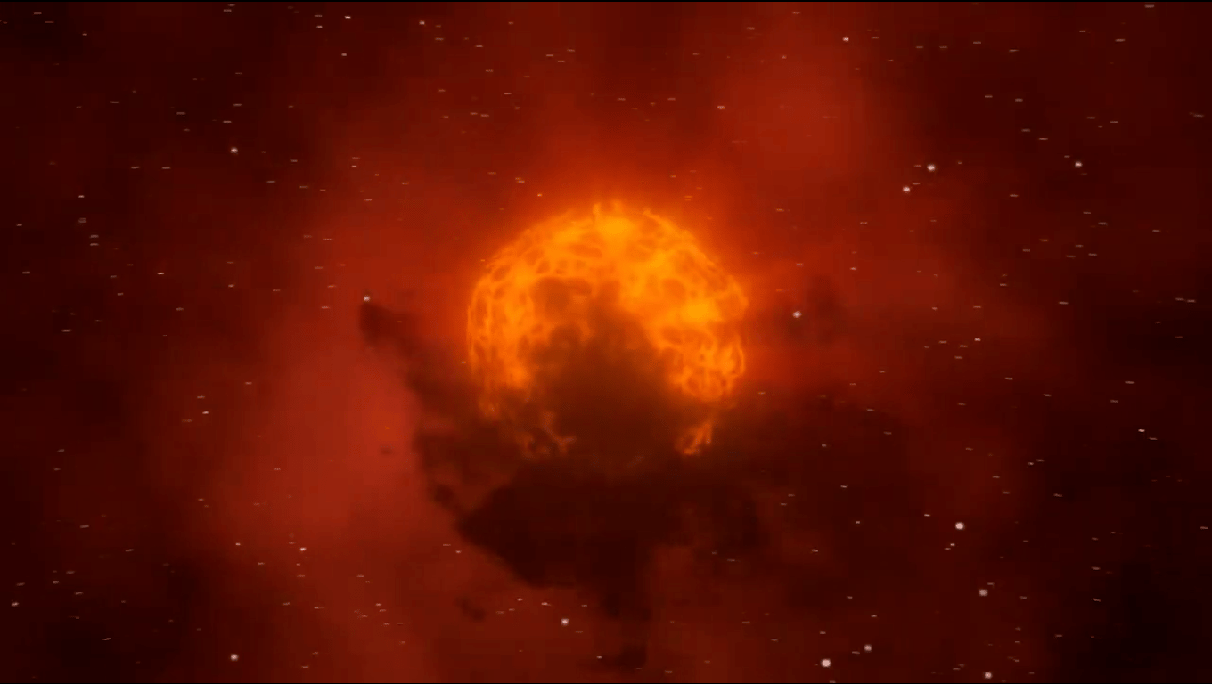 An artist's illustration of a dust cloud obscuring the supergiant star Betelgeuse