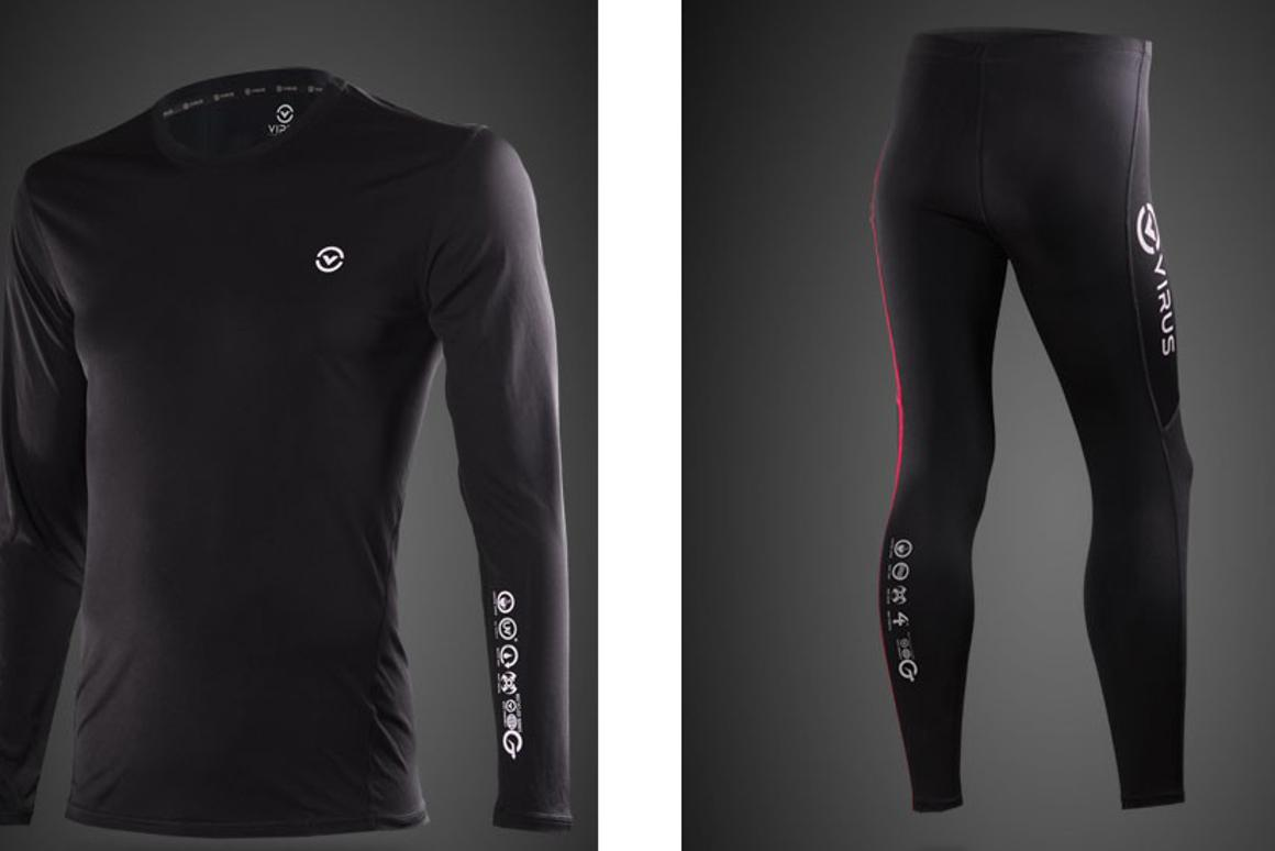 Virus base layer garments provide use recycled coffee beans in the fiber to provide warmth and protection