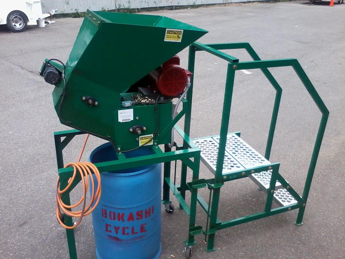 The Bokashicycle Food Waste Pulverizer is designed to consolidate commercial food waste, and make it easier to compost