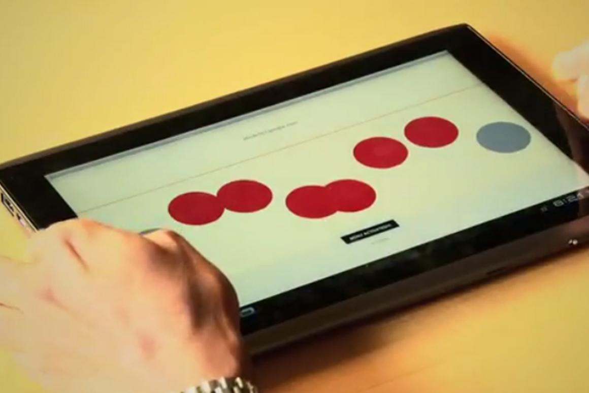 The touchscreen Braille writer lets users position their fingers anywhere on the tablet display