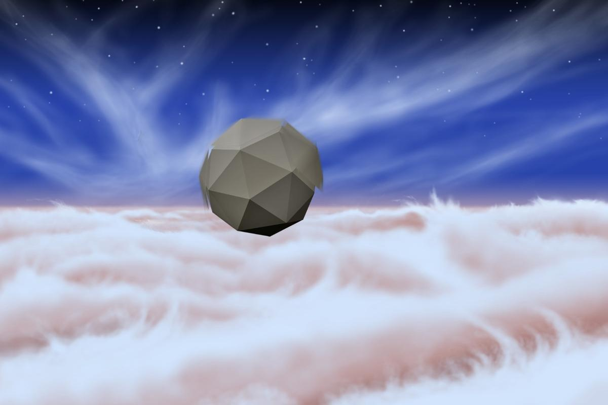 Artist's impression of a probe floating in the skies above Jupiter
