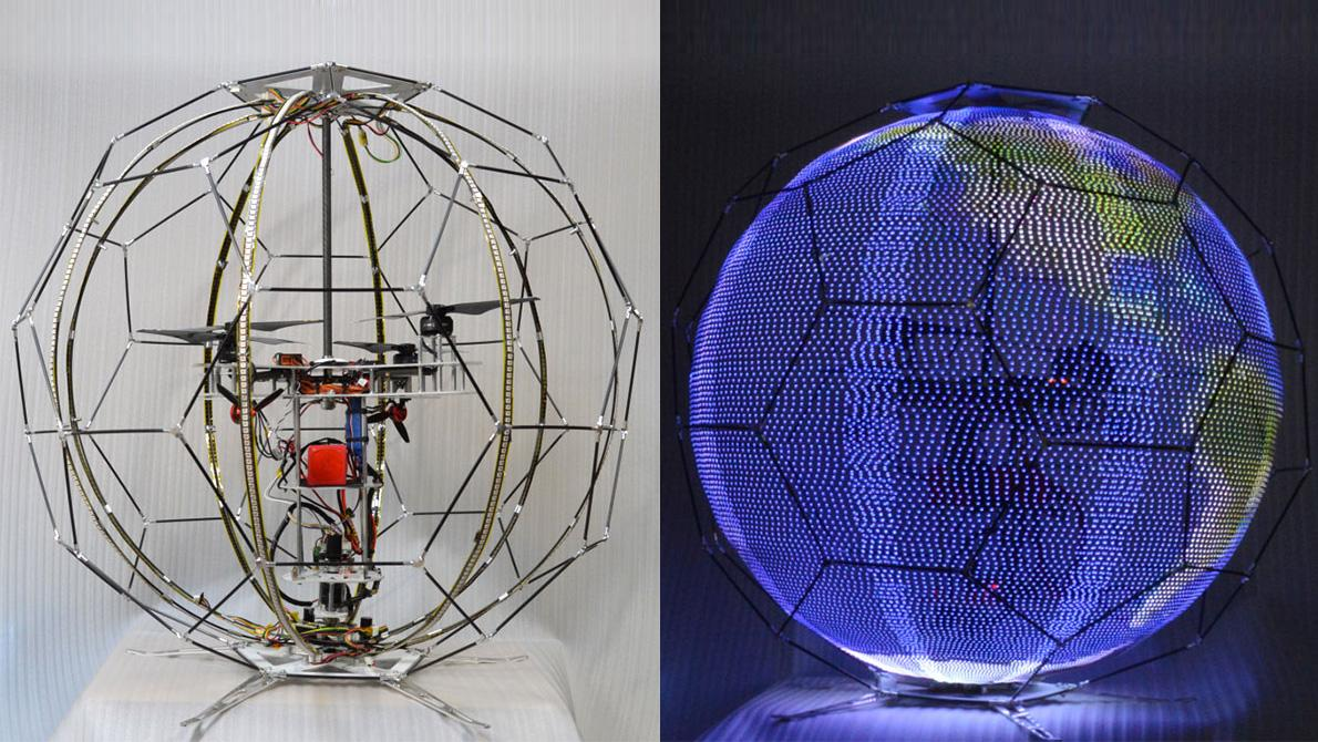 NTT Docomo's spherical drone display consists of a quadcopter contained within an external frame and rotating strips of LEDs