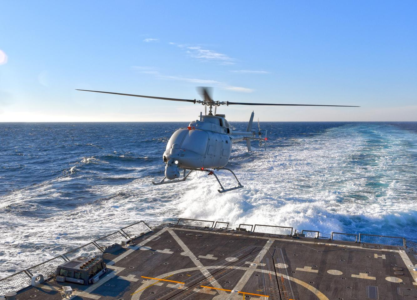 The MQ-8C Fire Scout hovering over the flight deck of USS Jason Dunham (Photo: Northrop Grumman)