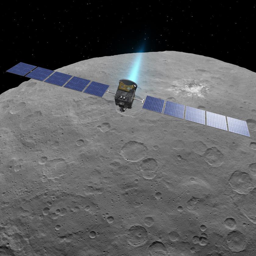 Artist concept of Dawn in orbit around dwarf planet Ceres