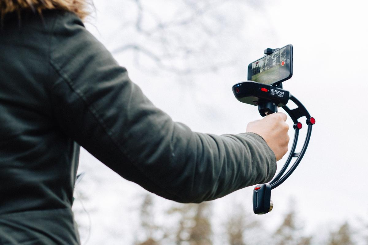 "The Steadicam Volt incorporates what Tiffen calls ""Simulated Inertia"""