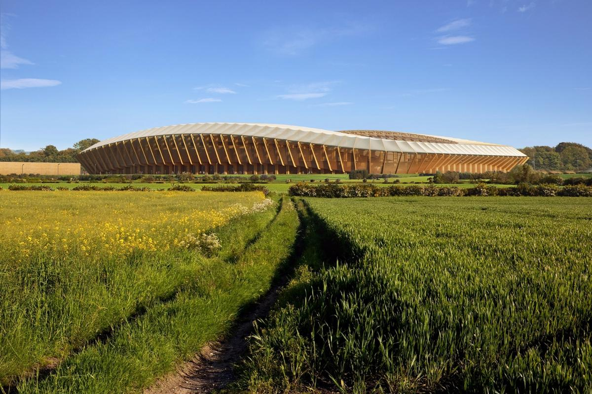 The new Forest Green Rovers stadium will take the form of a continuous spectator bowl with a low profile, sweeping curves and a wooden skeleton