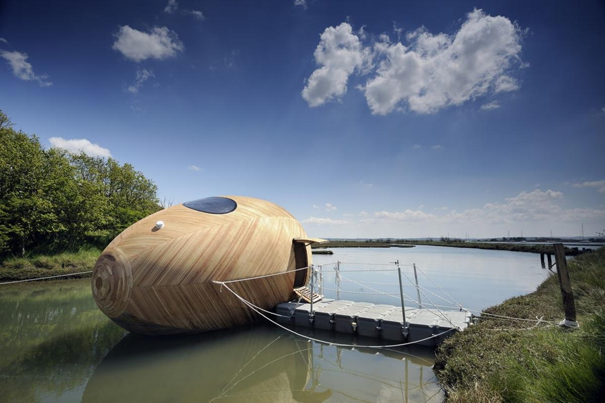 The Exbury Egg is a floating off-grid workspace and home made in the UK